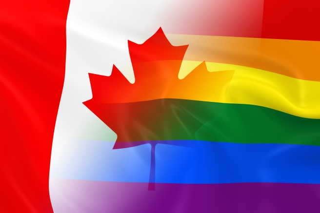 Gay Pride In Canada Concept Image - Gay Pride Rainbow Flag And T